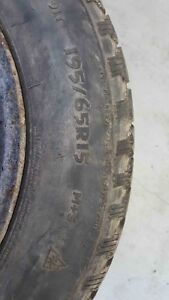 SET OF 4  WINTER TIRES ON RIMS 195/65R15--$350 O.B.O London Ontario image 2