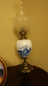 Antique porcelain lamps with tulip shades