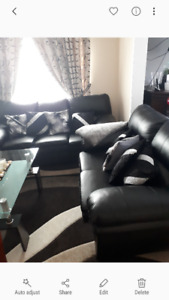 3 PC Black Leather Couch for$550 ONLY!!!
