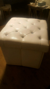 Faux Leather tufted Storage Cube