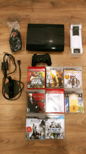 Mint condition last gen PS3 500GB with accessories and 8 games