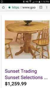 Wood table and chairs $600