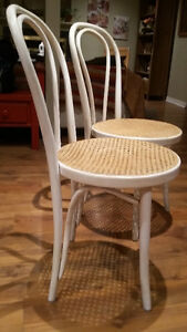 Two Thonet bentwood chairs - distressed white