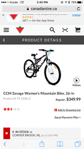 "Ccm savage 26"" women's bike"