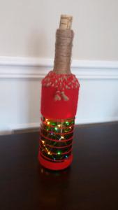 Bouteille décorative pour Noël avec lumières LED