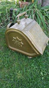 Antique Solid Brass Fireplace Coalinga Scuttle