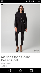 NEW Le Chateau Black Coat Size Small (open collar with belt)