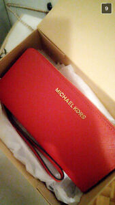 Brand New Red Michael Kors Travel Continental Leather Wallet