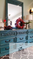 Painted Teal Dresser and Mirror- Stunning!! Must See!!