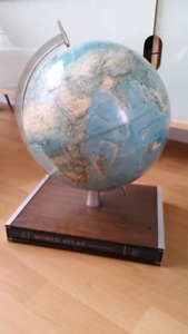 Vintage Globe with Atlas Stand