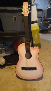 Pink acoustic guitar **missing a string**