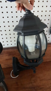 Black Outdoor House Light or Porch Light w/ LED Bulb