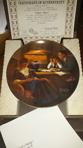 Norman Rockwell Plates - 5 plates & authentic certificates