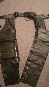Genuine Leather Motorcycle Chaps - Medium