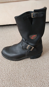 "REDWING ""968"" BLACK LEATHER MOTORCYCLE BOOTS - MINT CONDITION"