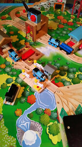 Thomas the tank engine table, tracks and trains (wooden)