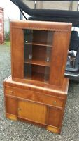 Antique Waterfall Dining Room China Display Cabinet