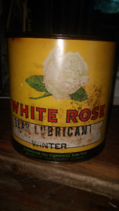 VINTAGE WHITE ROSE 5 POUND  UNOPENED GREASE CAN WINTER