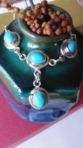 Vintage Turquoise Necklace in Sterling Silver