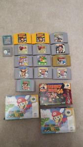 N64 Mario party, banjo, donkey Kong, pokemon, gameboy color