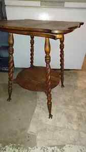 Antique tables and display hutch