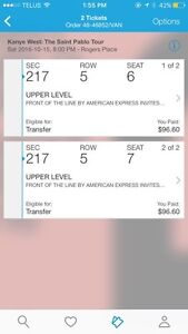 2 tickets to Kanye