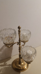 Royal Irish Crystal & Brass Candle Stand (holds 3)-Ex Cond