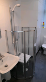 Wetroom Shower system with doors, seat and Mira electric shower
