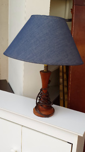 Small Table Lamp with Wood Base