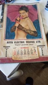 old collectable  AUTO ELECTRICE REGINA 1954,1956 shop calendars