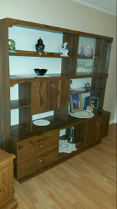 Beautiful  hutch with glass doors and lights