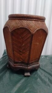 Vintage Chinese Bamboo Flower Pot with Stand,43 CM Tall