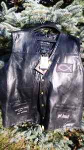 Leather 3X, Mens Christian Vest! Motorcycle, Biker NWTags