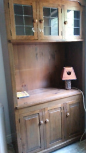 SOLID PINE HUTCH -  SOLID MAPLE CUSHION CHAIR