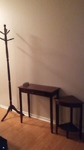 2 tables and coat rack
