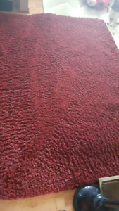 Maroon red color shag rug