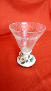 Vintage Crackle Glass T.Capodimonte vase. Made in Italy