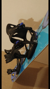 Snowboard, bindings and boots size 5