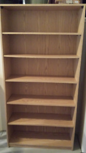 Beige/brown 6 shelves bookcase with backing