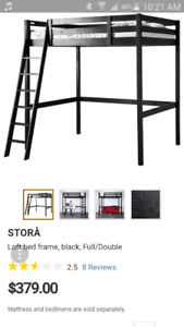 IKEA STORA: wooden double loft frame with mattress.