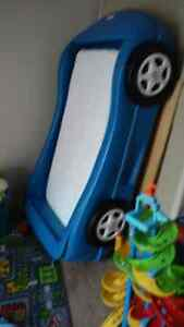 Blue little tykes race car bed and crib mattress