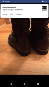 Roots women's chocolate brown leather and sherling boot