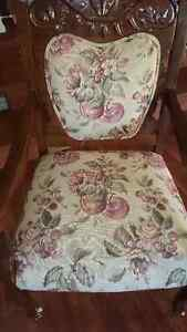 ANTIQUE SOLID WOOD Victorian Chair with Tapestry Fabric Castors