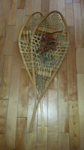 """Large Wooden Snowshoes 42"""" x 14"""" Very Good Condition"""