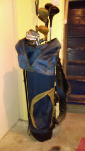 Older Youth Golf Clubs & Bag with cover and tripod
