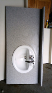 Countertop with sink and faucet