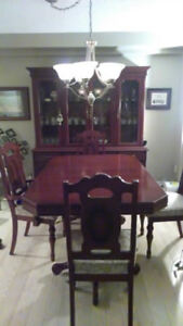 Solid Wood Dining Set : Table, 6 Chairs, and Buffet / Hutch
