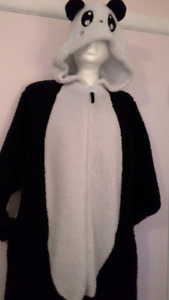 adult fuzzy panda bear onesie pajama / costume, size Medium