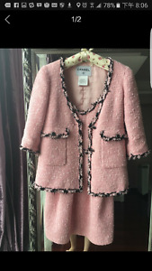 Pink tweed dress and jacket sets