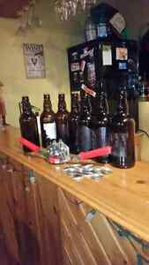 Home brew bottles , capper and caps 500ml stubby